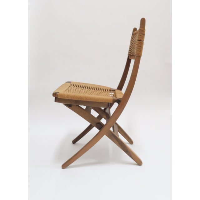 Vintage Danish Modern Rope Folding Chair For Sale - Image 4 of 7