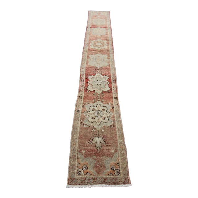 Tribal Antique Turkish Oushak Hand Knotted Rug - 1'8 X 12'9 For Sale