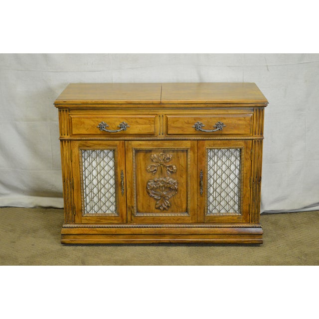 Davis Cabinet Co. Solid Walnut French Provincial Flip Top Server - Image 9 of 11