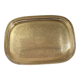 Large Yellow Brass Engraved Tray With Scalloped and Filigree Edge