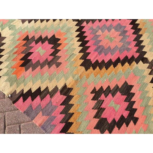 Cotton Diamond Design Kilim Rug For Sale - Image 7 of 9