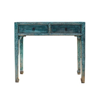 Distressed Dark Light Teal Blue Lacquer 2 Drawers Console Table For Sale