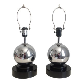 Pair of Hivo Van Teal Art Deco Style Chrome Sphere Table Lamps For Sale