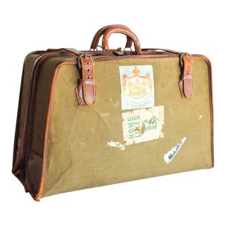 Vintage World Traveler Canvas & Leather Garment Bag For Sale