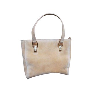 Escada Suede Leather Satchel Purse Tote Bag