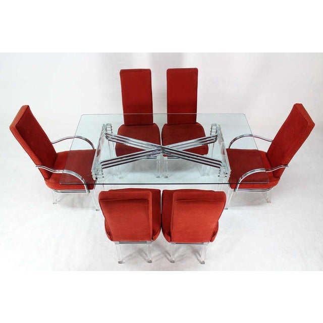 Silver Mid-Century Modern Set of Six Dining Chairs and Table in Lucite, Chrome, Glass For Sale - Image 8 of 9