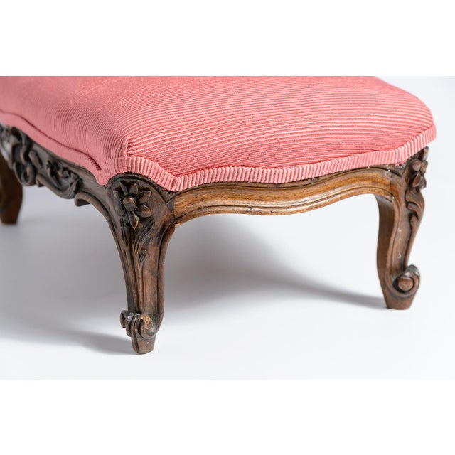 Late 19th Century French Louis XV Footstool New Coral Upholstery 19Th C. For Sale - Image 5 of 10