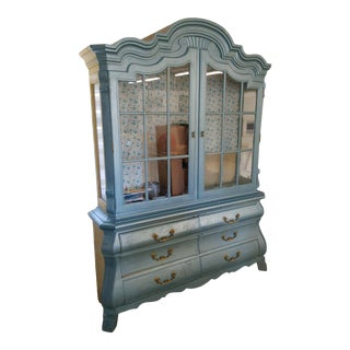 Drexel Heritage Blue Display Cabinet For Sale