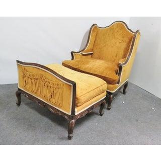 Louis XV Orange Velvet Walnut Wing Chair & Ottoman Preview