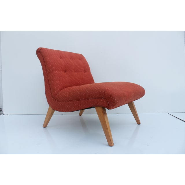 Jens Risom for Knoll red lounge slipper accent chair. This piece is in super great condition, with some typical minor...
