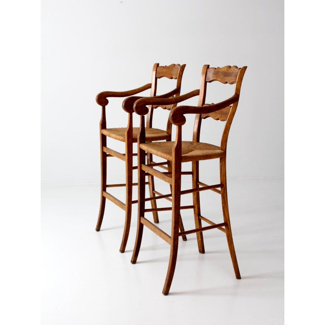 Vintage High Back Bar Arm Stools - A Pair - Image 7 of 7