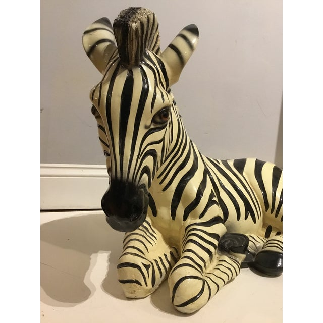 Graceful ceramic zebra, made in Italy. Stamped. Great for a coffee table, large shelf, console or dining centerpiece....