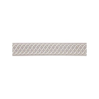 Scalamandre Helix Embroidered Tape, Silver Grey Fabric For Sale