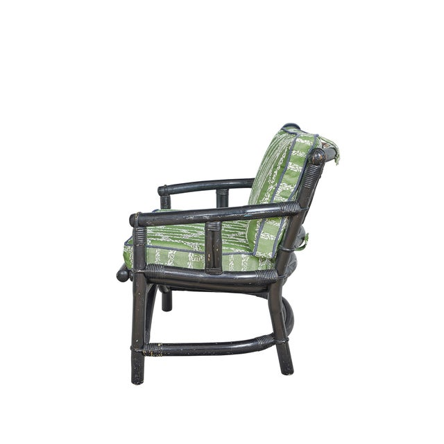Vintage bamboo chair, painted black. Two zippered, detachable cushions - covered in Ferrick Mason's Espalier Reverse -...
