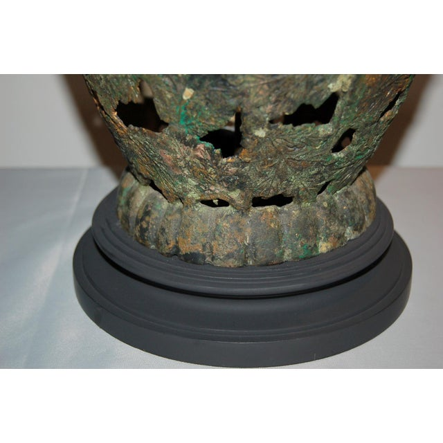 Vintage Metal Pierced Brutalist Table Lamps For Sale - Image 12 of 13