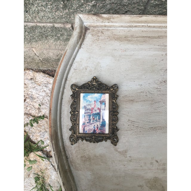 Italian Baroque Small Metal Frame & Illustration - Image 3 of 6