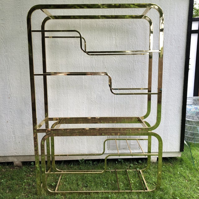 Gold 1970s Mid-Century Modern Milo Baughman Extendable Brass and Glass Étagère - 2 Piece For Sale - Image 8 of 13