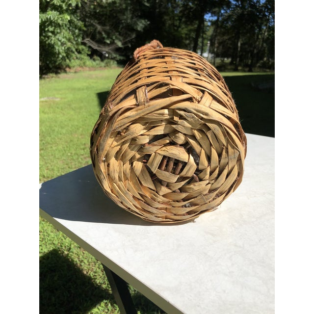 1980s Vintage Wine Bottle in Handled Wicker Basket With Label For Sale - Image 5 of 7