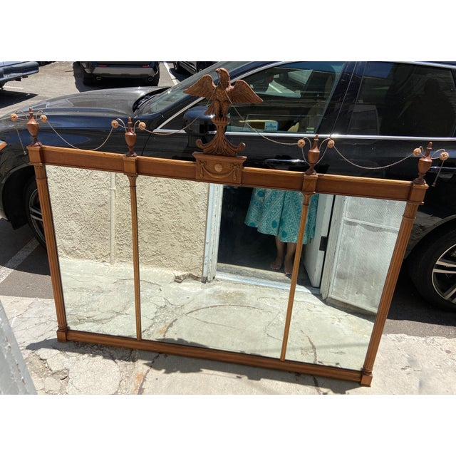 American Federal Style Three Panel Eagle Mirror For Sale - Image 3 of 8