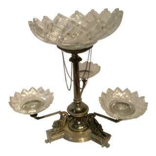 English Epergne With Detailed Hippocamps Period Cut Glass Bowls - 4 Pc. Set For Sale
