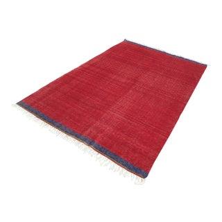 "Vintage Turkish Tribal Red Kilim Rug-6'x8'11"" For Sale"