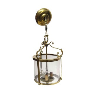 Waldorf Brass Cylinder Lantern With Etched Glass For Sale