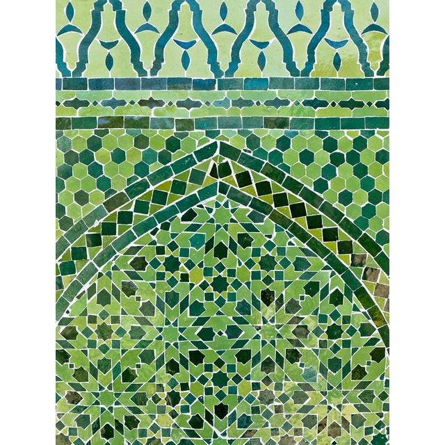 Green Moroccan Tile Wall Fountain For Sale In Los Angeles - Image 6 of 7