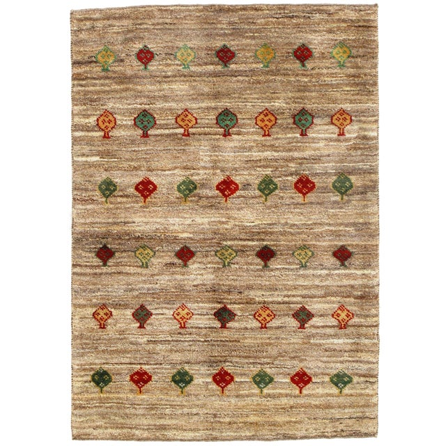 """Traditional Pasargad N Y Persian Gabbeh Rug - 3′4″ × 4′8"""" For Sale"""