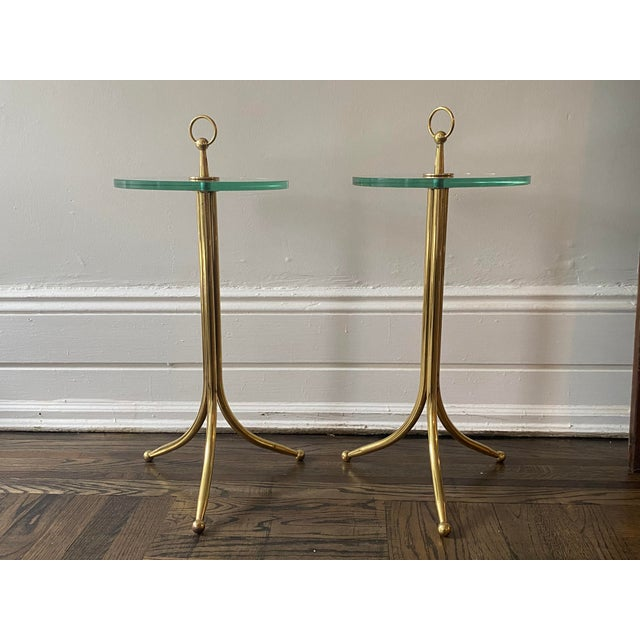 Mid-Century Modern 1950s Cesare Lacca Brass and Glass Drinks Tables - a Pair For Sale - Image 3 of 11