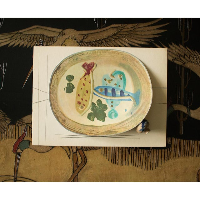1950s 1955 Pablo Picasso Ceramic Plate With Fish and Olives, Original Period Swiss Lithograph For Sale - Image 5 of 6