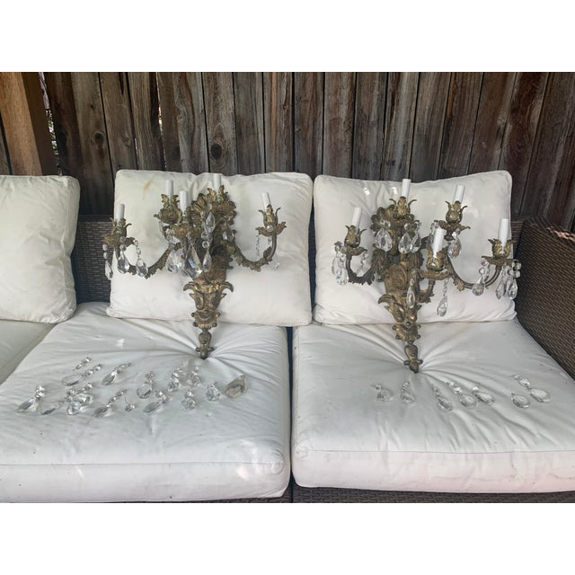 French French Rococo Gilt Bronze and Crystal Sconces With Five Arms, Circa 1820 - a Pair For Sale - Image 3 of 13