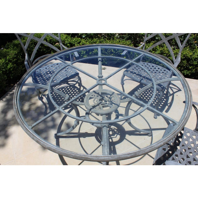 French Iron Garden Dining Set - 5 Pieces For Sale - Image 4 of 5