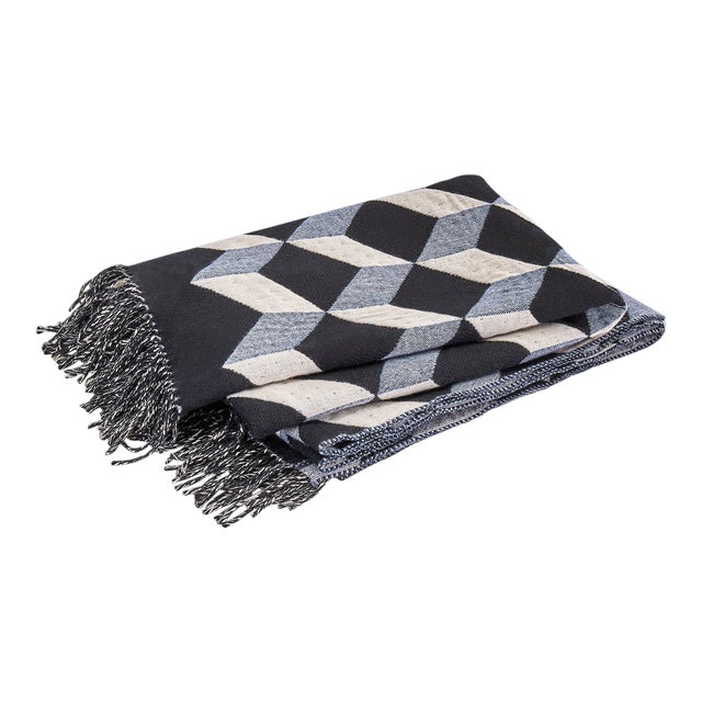 Contemporary Belgian Geometric Wool & Cashmere Large Throw For Sale