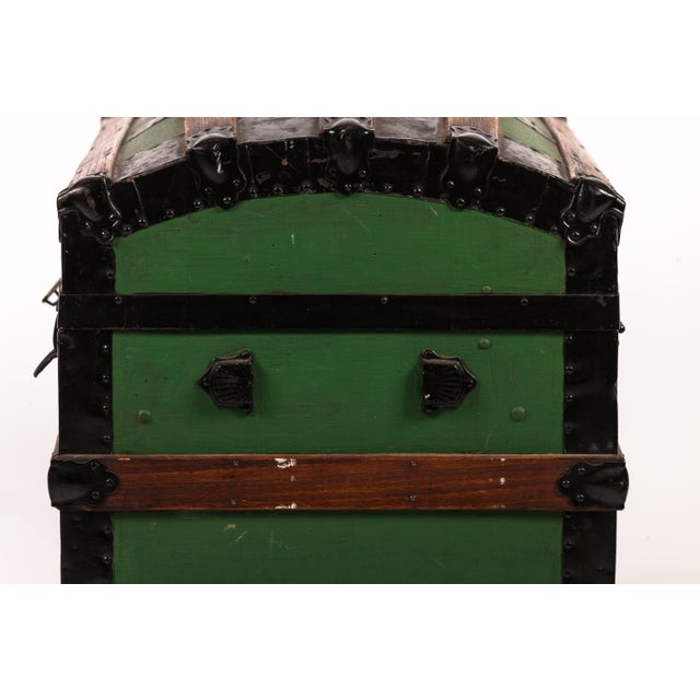 Antique Green Dome Carriage Trunk For Sale - Image 4 of 13