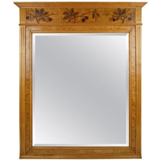 1900s French Art Nouveau Inlaid Fireplace Mantel Mirror, Horse-Chestnut Theme For Sale