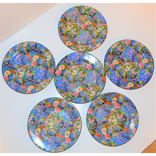 1920s 1920's Antique Crown Ducal Blue Chintz Plates - Set of 6 For Sale - Image 5 of 11