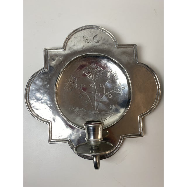 French Country Pierre Deux Pewter Wall Candle Sconces - a Pair For Sale - Image 3 of 13