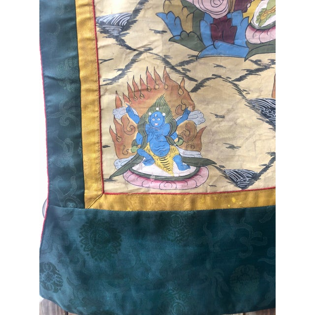 Vintage Buddhist Tibetan Thangka Hand Painted For Sale In West Palm - Image 6 of 8
