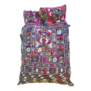 Vintage Peruvian Embroidered Pillow For Sale