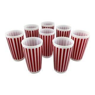 Vintage Hazel Atlas Milk Glass Red White Striped Glasses - Set of 8 For Sale