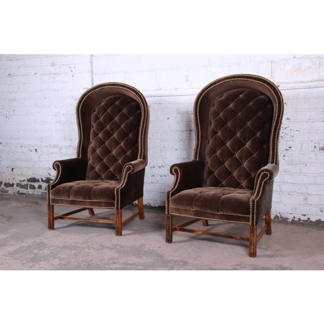 Midcentury Brown Velvet Porter's Chairs, Pair For Sale - Image 12 of 12