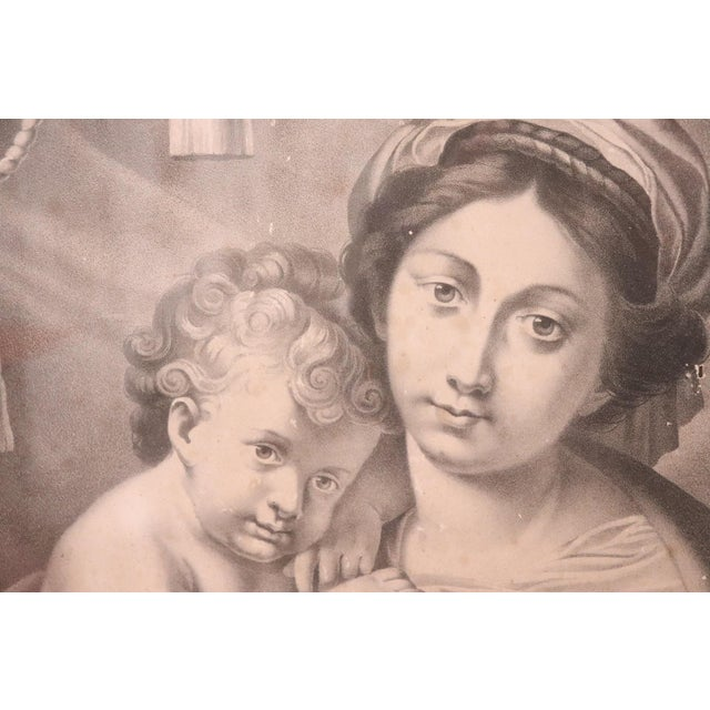 Paper 19th Century Italian Lithograph, Print Madonna With Jesus Child For Sale - Image 7 of 9