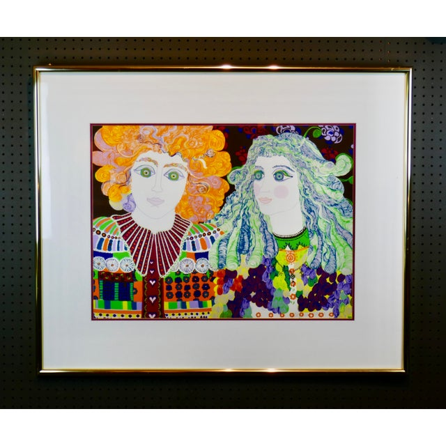 Blue 1960s Mid-Century Modern Signed & Numbered Eakman Lithograph, 2 Hippy Chicks For Sale - Image 8 of 8
