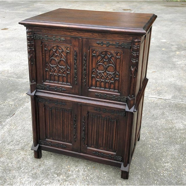 Brown Antique French Gothic Cabinet For Sale - Image 8 of 12