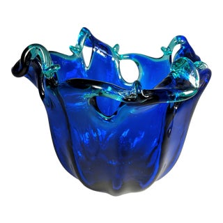 Italian Hand Blown Glass Vase For Sale