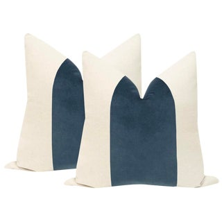 "22"" Prussian Blue Velvet Panel & Linen Pillows - a Pair For Sale"