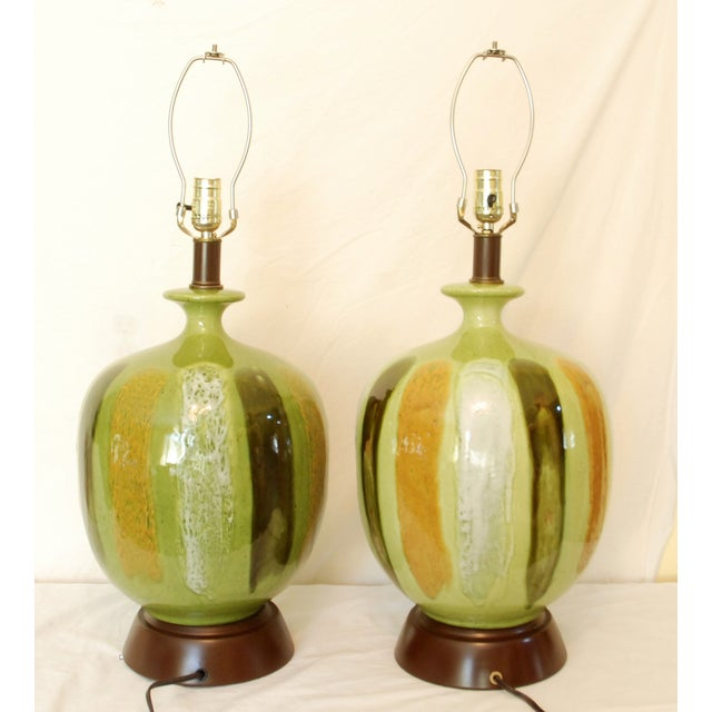 Mid-Century Modern Green Table Lamps - A Pair - Image 2 of 6