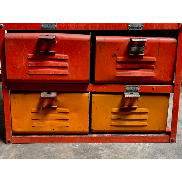Vintage Industrial Orange 10-Basket Metal Locker Storage For Sale - Image 12 of 13