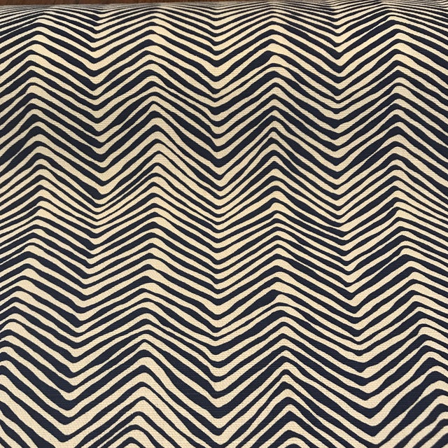 """2010s Quadrille / China Seas """"Petite Zig Zag"""" Navy on Tint Fabric For Sale - Image 5 of 6"""