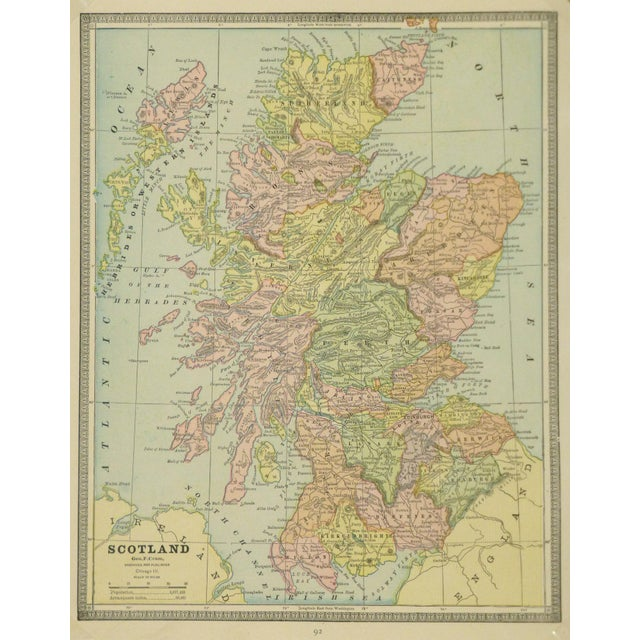 Illustration Vintage Map of Scotland, 1890 For Sale - Image 3 of 3
